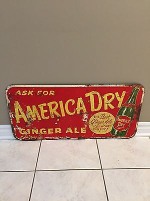 Rare Old America Dry Ginger Ale Metal Sign
