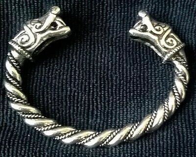 large Silver Norse Pagan Viking Open Wolf Size Bangle Bracelet Torc Mens