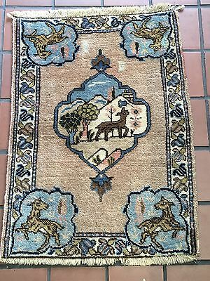 "22""x29"" AUTHENTIC VINTAGE PERSIAN TABRIZ RUG HAND KNOTTED WOOL CARPET"