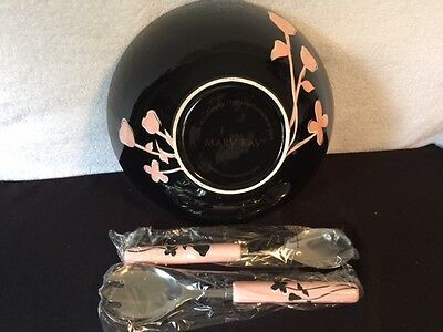 Mary Kay Ceramic Salad Bowl w/Tongs Consultant Gift Rare Pink & Black w/Flowers