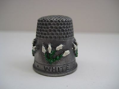 Vintage collectible decorative pewter thimble, White heather for luck