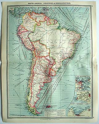 Original Map of South America: Industries & Communication c1907 by G Philip