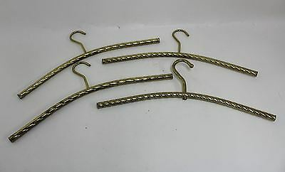 4 x Vintage Retro Style Brass Toned Tubular Twisted Metal Clothes Hangers
