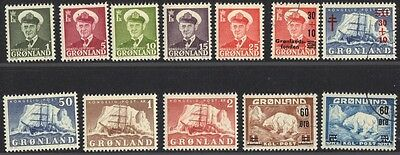 GREENLAND 1950-60 Sc.28//37 INC THE KEY VALUE 50ore Sc.35 MINT LH +4 USED VALUES
