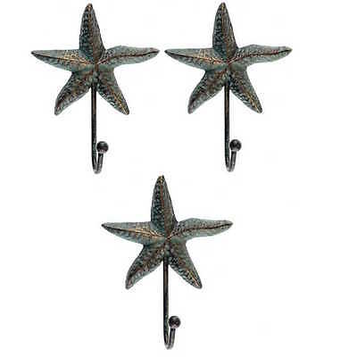 3 Starfish Hooks Coat Hat Wall RUSTIC cast iron Antique style Patina Finish