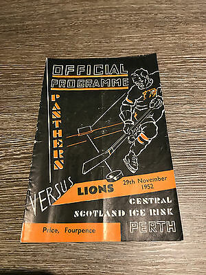 Perth Panthers v Falkirk Lions Ice Hockey Programme 1952