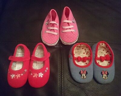 12-18 months 3 x PRAM SHOES SOFT BOOTIES BUNDLE Baby Girls MINNIE MOUSE MINICLUB