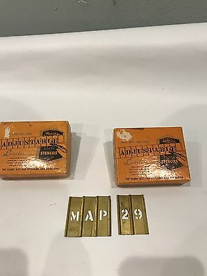 Vintage Reese 1/2 Brass Interlocking Stencils Letters And Numbers