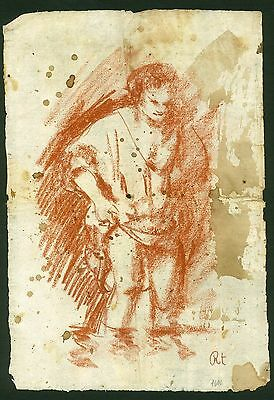 REMBRANDT - drawing on original paper of the 17th century - Flemish school