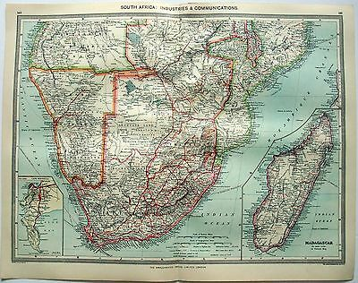 Original Map of South Africa: Industries & Communication c1906 by G Philip & Son