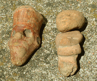 """tWo Mexican head headdress figures sculptures antiquities 2"""" three pieces"""