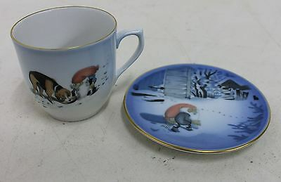 BING & GRONDAHL Tomte Gnome Series Porcelain Cup & Saucer By Harald Wiberg