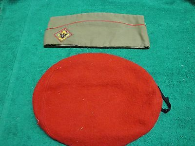 VINTAGE BOY SCOUTS RED WOOL BERET and GARRISON CAP MEDIUM EXC. COND