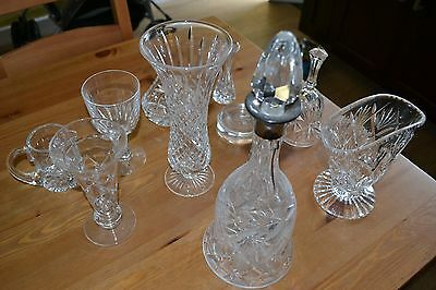 collection of vintage crystal cut glass items