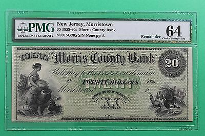 1858-1860's $20 Morris County Bank Morristown New Jersey Obsolete Note PMG 64
