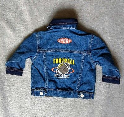 Sports Jean Jacket Baby Football Champion Embroidery Patches Denim Snap Button