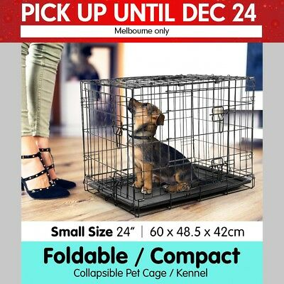 """24"""" Foldable Pet Cage Dog Puppy Metal Wire Crate Kennel House Collapsible Tray"""