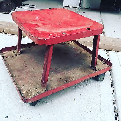 Vintage Workshop Gas Station Mechanics Creeper Rolling Metal Seat Stool Casters
