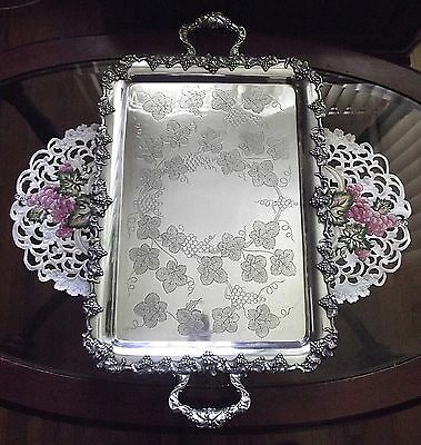 """EG Webster/1847 Rogers VINTAGE Hand Chased Grape 26"""" BUTLERS TRAY ~ #5336 ~ EX!"""