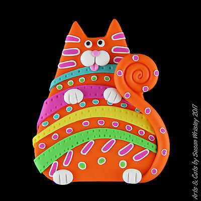 Chubby Orange Colorful Stripes & Dots Kitty Cat Pin - SWris