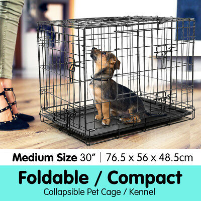 "30"" Foldable Pet Cage Dog Puppy Metal Wire Crate Kennel House Collapsible Tray"