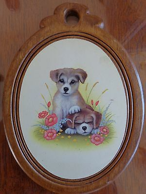 Two Dog Picture on Wood Frame and Back - Cute