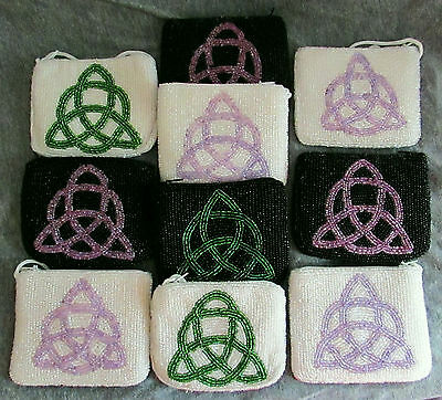 Mixed Lot Of 10 Beaded Celtic Themed Coin Purses W/ Wrist Strap Wholesale New