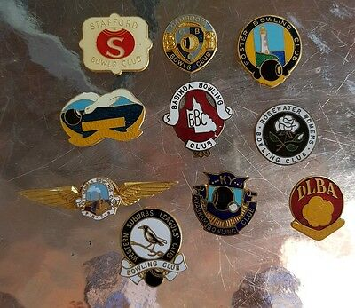 10× Collectable  Bowls Club Badges ** BACKS REMOVED**