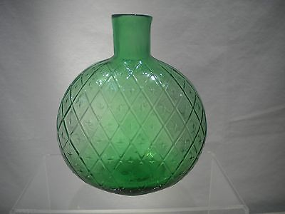 """Vintage Clevenger Green Glass 5"""" Diamond Pattern Flask with Open Pontil"""