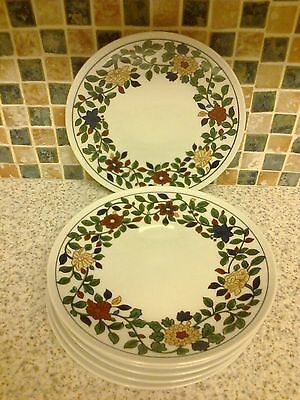 Thomas Germany Porcelain 6 X Side/cake Plates Red Yellow Flowers Green Leaves