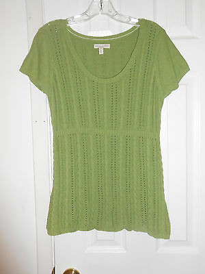 Aeropostale Junior's Green Open Weave Cap Sleeve Knit Top Sz XL  Good Used Cond