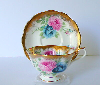 Royal Albert Pink and Blue Roses Bone China Cup & Saucer Set