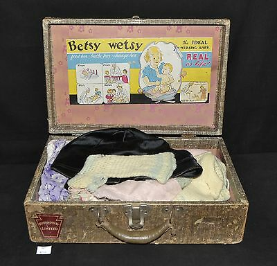 ThriftCHI ~ Ideal Betsy Wetsy Suitcase w Vintage Clothing Crochet, Linen +