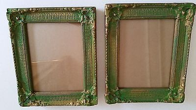 Vintage Picture Frames Gold and Green Glass and Wood 9x10.5 Inches