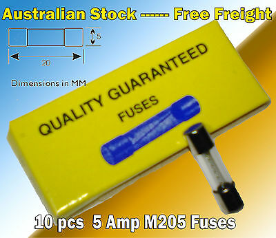 10 Pcs  5A M205 Fast Blow Glass Fuse 5x20mm fuses common in many appliances