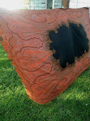 Huge Antique Victorian Paisley Shawl Hand Woven Jacquard 60x123 Piano Table Bed