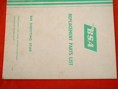 BSA 1969 B44 Shooting Star Single Cylinder Spares List - Original
