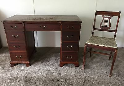 Vintage 1940s Desk & Chair, Kneehole Writing, Sturdy, Solid All Wood