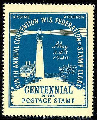 USA Poster Stamp - Wisconsin 1940 Philatelic Convention - Lighthouse