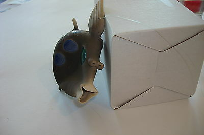 Hanging Raku Fish Original Ellsworth Copyright 1989 Blue Green And Grin