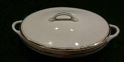 Vintage CLEVELAND China Oval Covered Vegetable Casserole Dish w/ Lid White/Gold