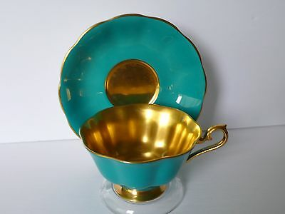 Royal Albert Turquoise Gold Gilded Bone China Cup & Saucer Set