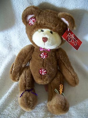 "Russ Berrie 13"" ""Cookie""  Light Brown Bear with White Face  Tag 039915224072 EUC"