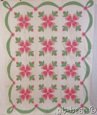 Beautiful c 1930s Pink Rose of Sharon Applique Vintage Quilt TOP Swags Cottage 9