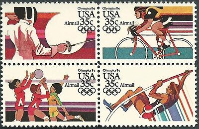 Scotts  #C109-112  35c  LA SUMMER OLYMPICS AIRMAIL Stamp Block of 4 MNH