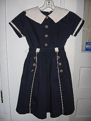 VINTAGE 1950s CHILDS CINDERELLA BLUE RED/WHITE COTTON DRESS-BATES FABRIC-SIZE 8
