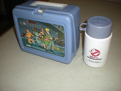 Vintage Thermos Gray/Purple 1986 Ghostbusters Lunch Box with Thermos