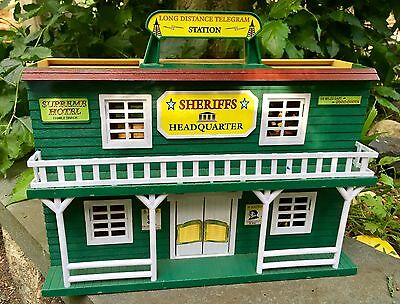 VINTAGE Western Valley Coach Express Town Cowboys Indians TOY Playset Sheriff