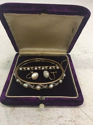 *~*Vintage 14k Gold, REAL Pearl And Diamond Bracelet/Earrings/Pin Set*~*
