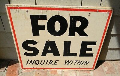 Vintage Original Antique For Sale Inquire Within Wood Road Office Sign